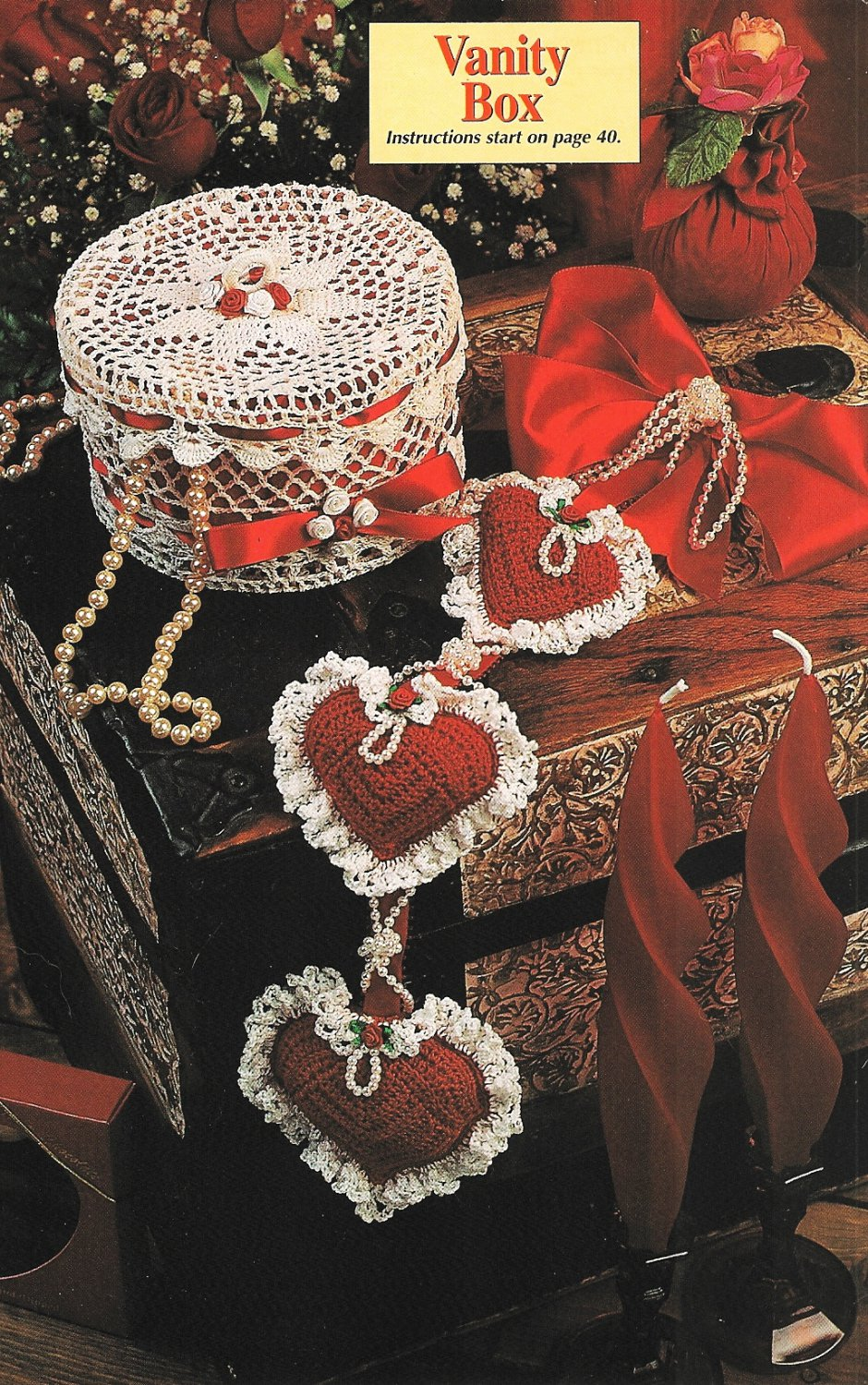 X139 Crochet PATTERN ONLY Puffy Hearts Wall Hanging and Vanity Box Pattern