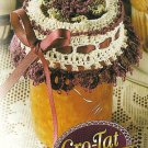 X989 Crochet PATTERN ONLY Cro-Tat Christmas Jar Lid Cover Burgundy