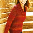 Y060 Crochet PATTERN ONLY Sunset Colors Cowl Neck Sweater