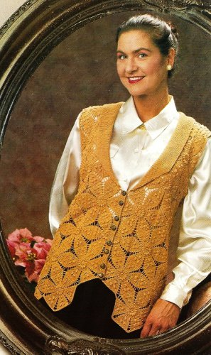 Y222 Crochet PATTERN ONLY Collared Ladies Vest Pattern