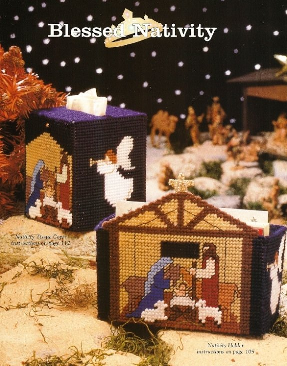 X00 Plastic Canvas PATTERN ONLY Blessed Nativity Coaster Wreath Card Box Tissue