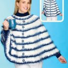 Y881 Crochet PATTERN ONLY Ladies Blue Roses Poncho Pattern