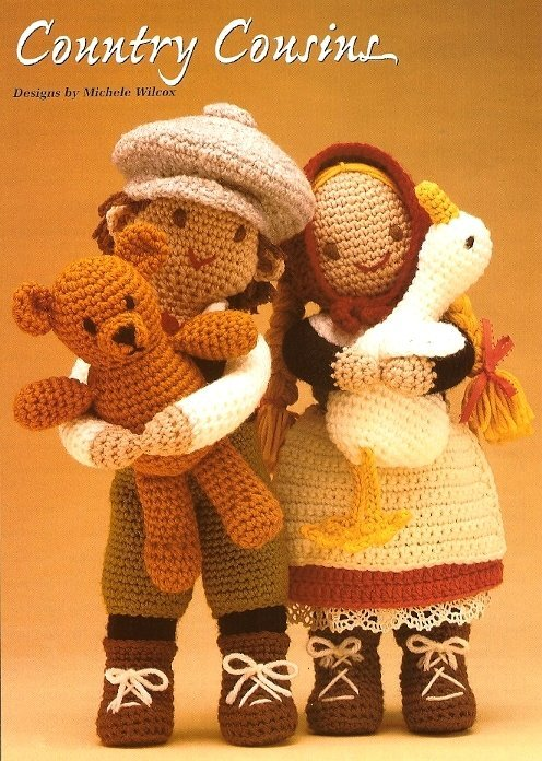 X126 Crochet PATTERN ONLY Country Boy and Girl Dolls with Bear and Duck Toy