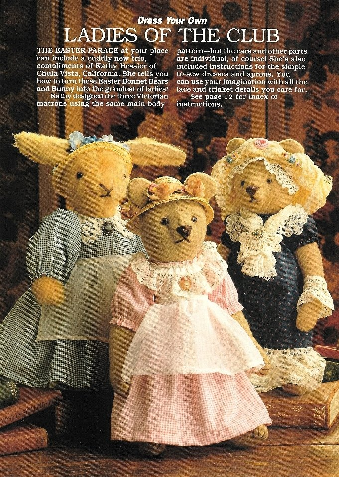 Y943 Sewing PATTERN ONLY Rabbit and Bear Doll Patterns - Ladies of the Club