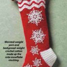 Y897 Crochet PATTERN ONLY Let It Snow Snowflake Christmas Stocking Pattern