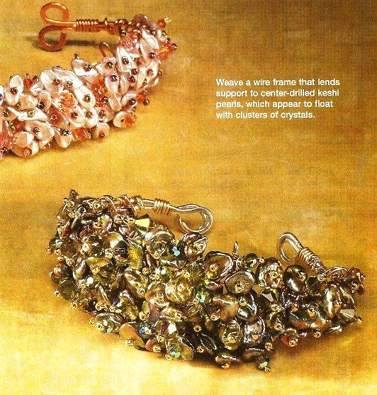 X225 Bead PATTERN ONLY Beaded Keshi Pearl & Crystal Cuff Bracelet Pattern