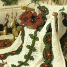 Y091 Crochet PATTERN ONLY Poinsettia Borders Christmas Afghan