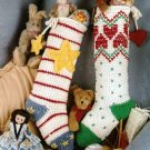 X622 Crochet PATTERN ONLY 2 Christmas Stocking Pattern with Stripes & Hearts