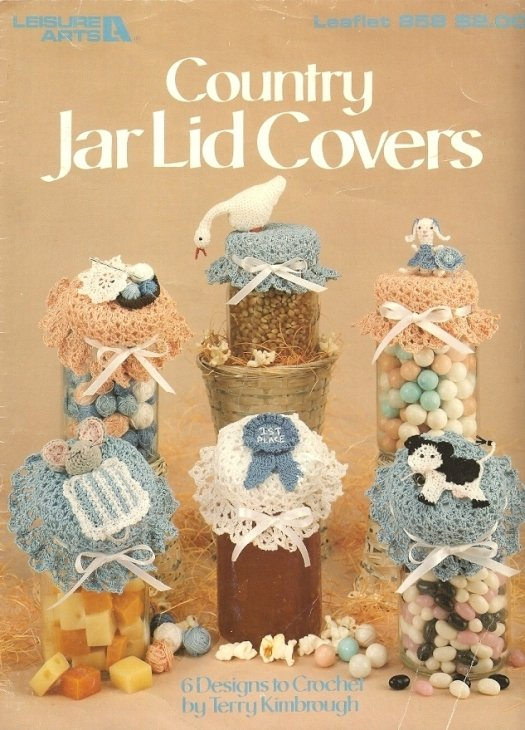 X483 Crochet PATTERN ONLY Country Jar Lid Covers 6 Designs Goose Cow Mouse