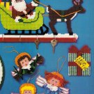 X280 Plastic Canvas PATTERN ONLY Santa & Sleigh Key Holder Christmas Ornaments