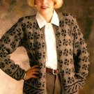 W093 Knit PATTERN ONLY Pinwheel Motif Cardigan Sweater Pattern
