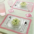 W135 Crochet PATTERN ONLY Pink Petals Luncheon Set Placemat and Coaster Pattern
