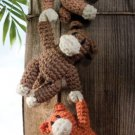 X973 Crochet PATTERN ONLY Hanging Monkey Toy Doll Pattern
