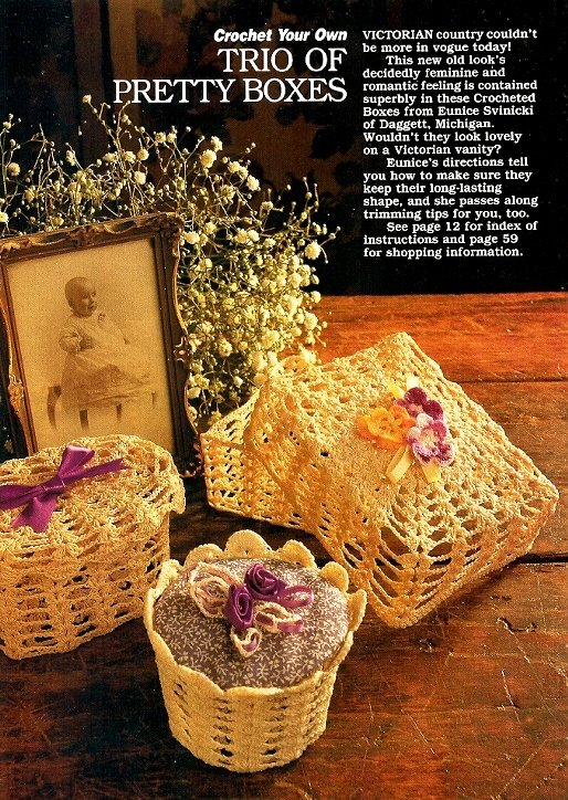 Y941 Crochet PATTERN ONLY Trio of Pretty Boxes Oval, Round and Square Patterns