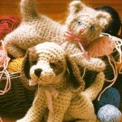 Y192 Crochet PATTERN ONLY Playful Kitty Kitten and Sweet Puppy Dog Toy Dolls