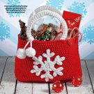 W059 Crochet PATTERN ONLY Snowflake Gift Bag Tote Pattern Christmas