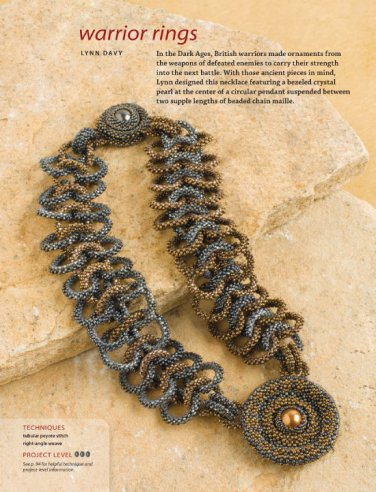 W108 Bead PATTERN ONLY Beaded Warrior Rings Necklace Pattern