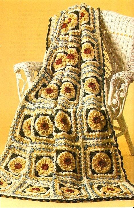 Y335 Crochet PATTERN ONLY Prairie Sunflowers Afghan Pattern