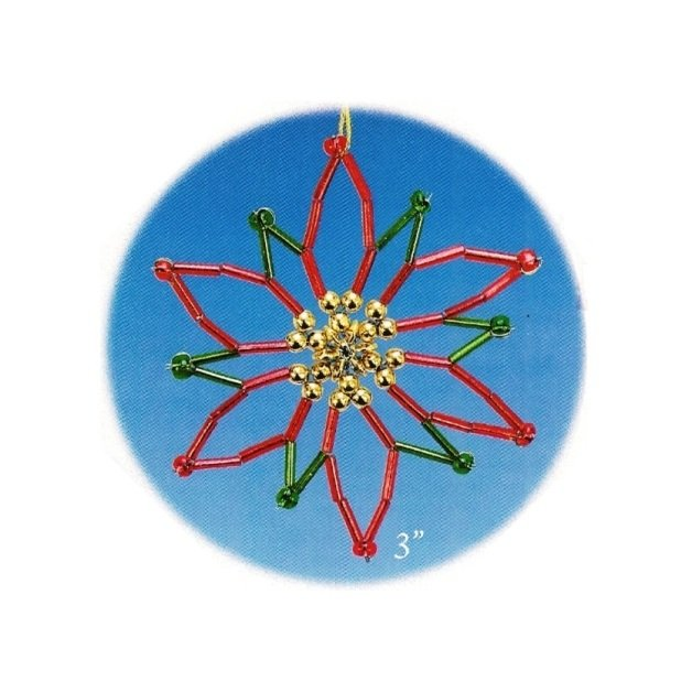 Y572 Bead PATTERN ONLY Beaded Poinsettia Christmas Ornament Pattern