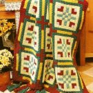 Y164 Crochet PATTERN ONLY Floral Quilt Block Afghan Pattern