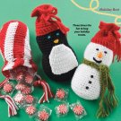X068 Crochet PATTERN ONLY Cheery Christmas Gift Bag Snowman Penguin Peppermint