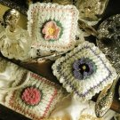 X983 Crochet PATTERN ONLY Floral Sachets Mum Pansy Rose