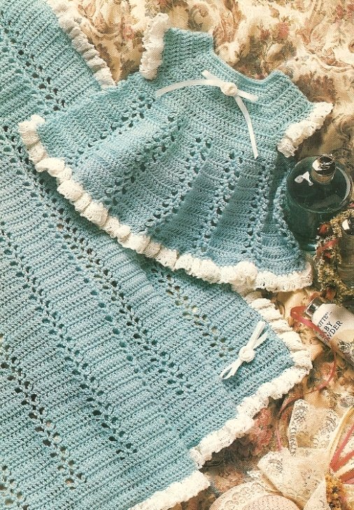X948 Crochet PATTERN ONLY Eyelet Lace Baby Dress & Blanket