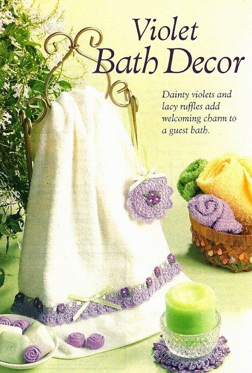 Y338 Crochet PATTERN ONLY Violet Bath Décor Sachet Towel Edging Doily Patterns