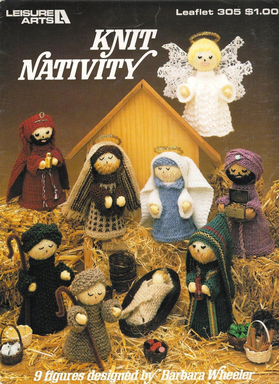 X747 Knit PATTERN ONLY Nativity Pattern 9 Figures Christmas Ornaments