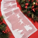 W308 Filet Crochet PATTERN ONLY Santa Claus Reindeer Sleigh Table Runner Pattern