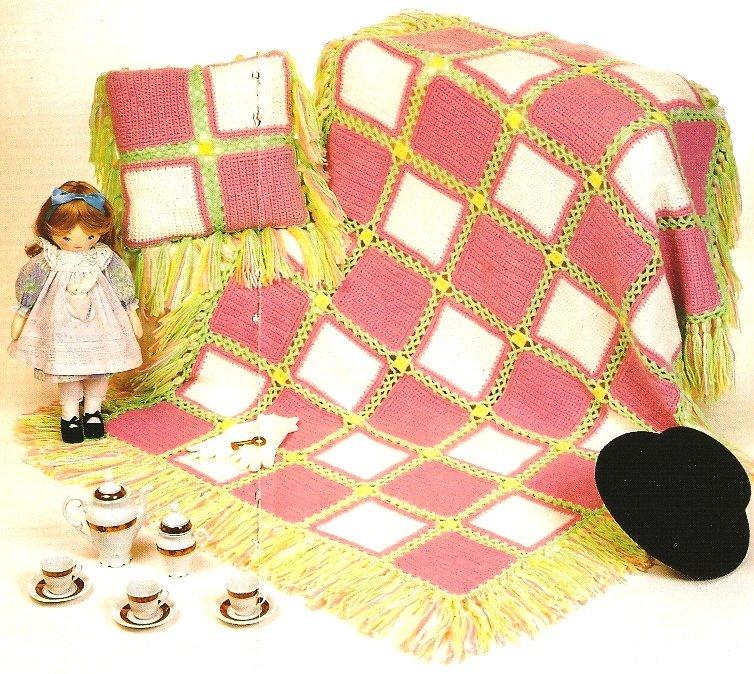 X203 Crochet PATTERN ONLY Sherbet Afghan & Pillow Pattern Set