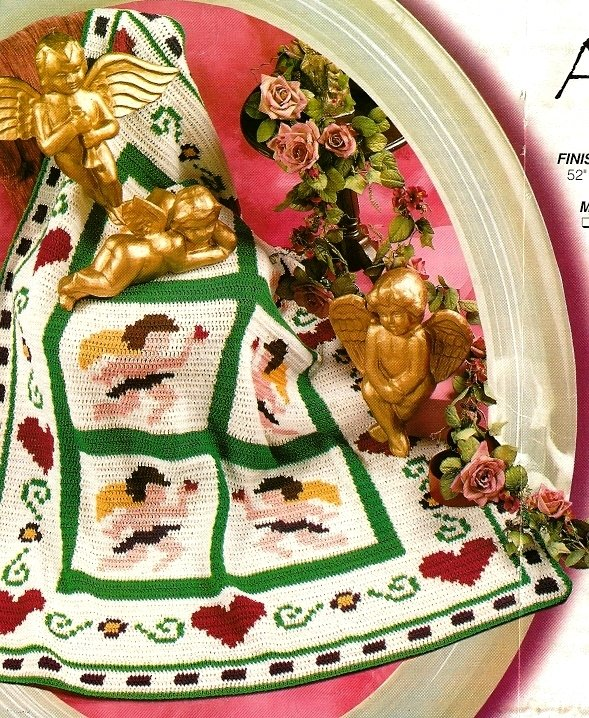 X009 Crochet PATTERN ONLY Hearts and Angels Afghan Patterns