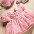 W038 Crochet PATTERN ONLY Little Pink Princess Dress & Bonnet Newborn Baby
