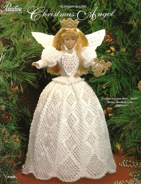 X482 Crochet PATTERN ONLY Victorian Crochet Christmas Angel Barbie Fashion Doll