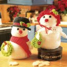 X463 Crochet PATTERN ONLY Snowman & Snowlady Cookie Jar Pattern