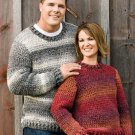 X649 Crochet PATTERN ONLY His & Hers Self Striping Pullover Sweater Pattern