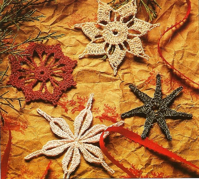 Y951 Crochet PATTERN ONLY 4 Metallic Snowflake Christmas Ornament Patterns
