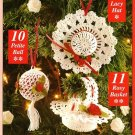 Y640 Crochet PATTERN ONLY Lacy Victorian Christmas Ornaments Hat Basket Ball