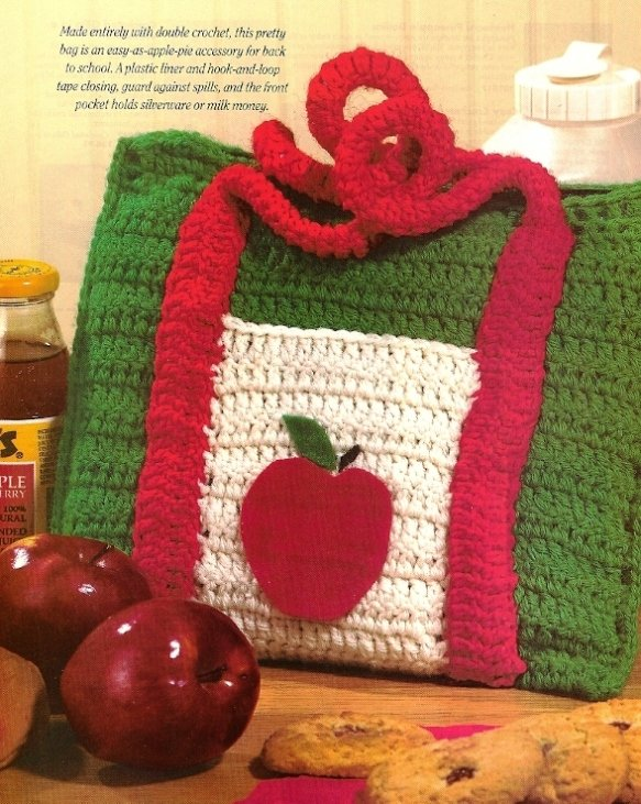 X899 Crochet PATTERN ONLY Apple Lunch Bag Tote