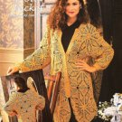 X754 Crochet PATTERN ONLY Ladies Lace Motif Long Jacket