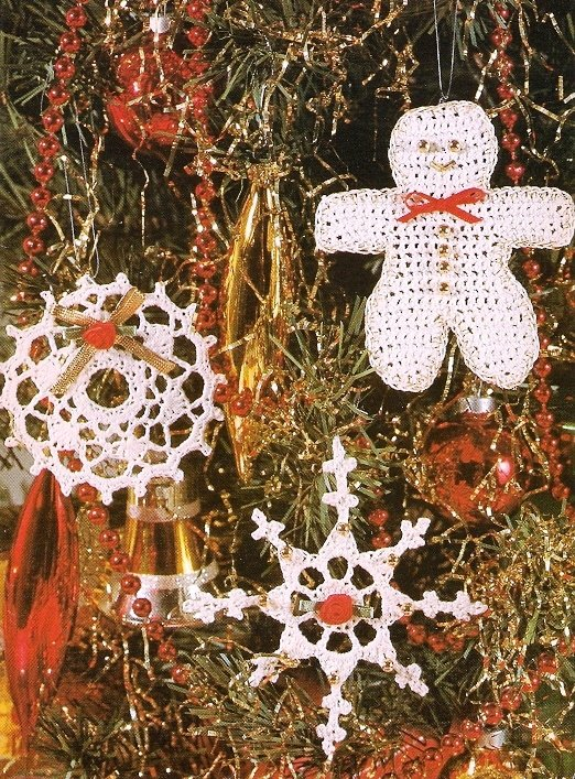 X840 Crochet PATTERN ONLY Christmas Trio Gingerbread Boy Snowflake Ornaments