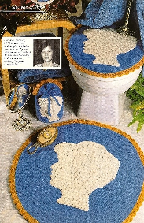 Y366 Crochet PATTERN ONLY Cameo Bath Set, Bath Mat Rug, Seat Cover, Tissue Cover