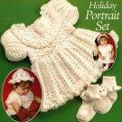 X506 Crochet PATTERN ONLY Toddler Holiday Portrait Set Dress Hat & Sock Edging