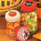 X397 Crochet PATTERN ONLY Halloween Jar Lid Cover Pattern Cat Pumpkin Spider Web