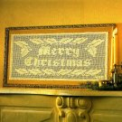 X291 Filet Crochet PATTERN ONLY Merry Christmas Greeting Banner Pattern