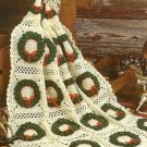X930 Crochet PATTERN ONLY Holiday Delight Wreath Afghan
