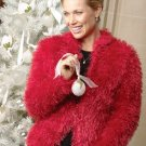 X657 Crochet PATTERN ONLY Faux Fur Ladies Jacket Valentine Christmas
