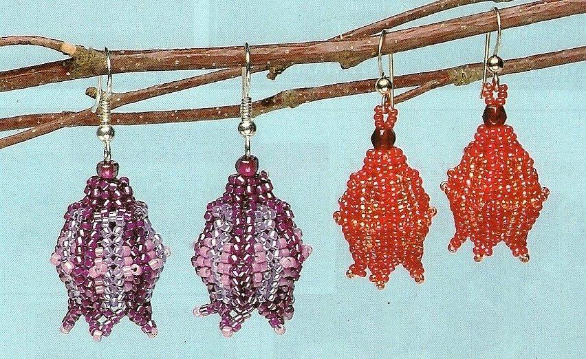 X575 Bead PATTERN ONLY Beaded Flame Tree Flower Earrings Pattern