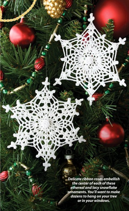 W221 Crochet PATTERN ONLY 2 Delicate Snowflake Christmas Ornament Patterns