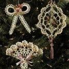 X443 Crochet PATTERN ONLY Dainty Victorian Christmas Ornaments Pattern Fan Bow